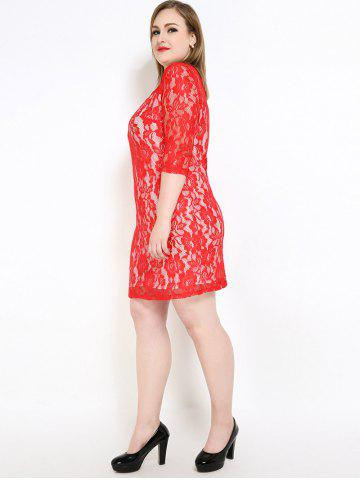Trendy Lace Knee Length Fitted Plus Size Dress - 3XL RED Mobile
