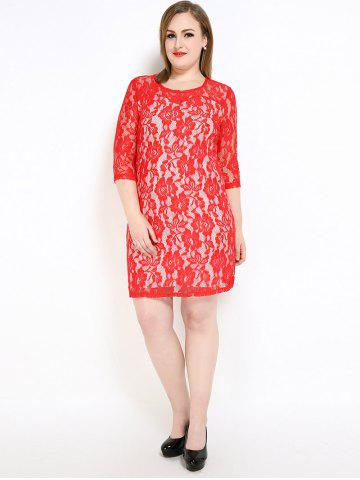 Outfits Lace Knee Length Fitted Plus Size Dress - 3XL RED Mobile