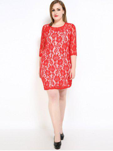 New Lace Knee Length Fitted Plus Size Dress - 3XL RED Mobile