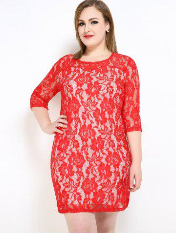 Discount Lace Knee Length Fitted Plus Size Dress - 3XL RED Mobile