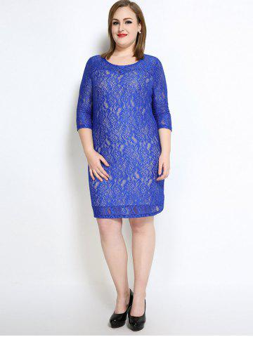 Outfits Lace Knee Length Fitted Plus Size Dress - 7XL BLUE Mobile