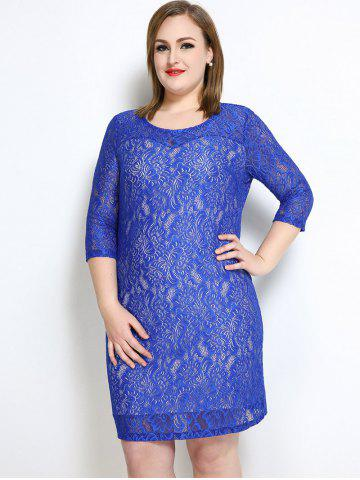 Discount Lace Knee Length Fitted Plus Size Dress - 7XL BLUE Mobile