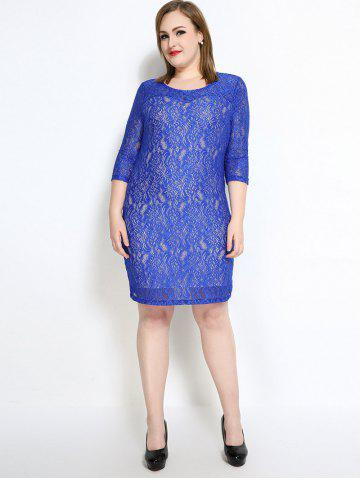New Lace Knee Length Fitted Plus Size Dress - 7XL BLUE Mobile