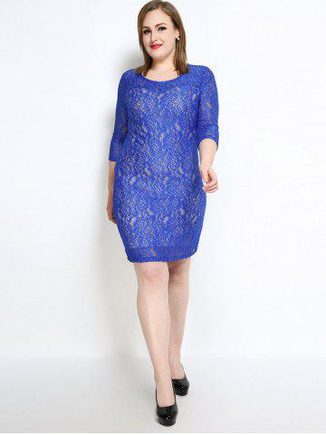 Online Lace Knee Length Fitted Plus Size Dress - 4XL BLUE Mobile