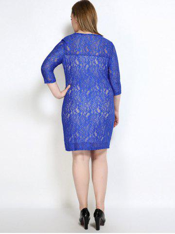 New Lace Knee Length Fitted Plus Size Dress - 3XL BLUE Mobile