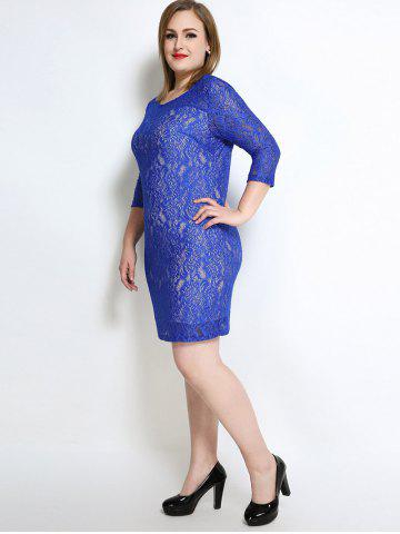 Outfits Lace Knee Length Fitted Plus Size Dress - 3XL BLUE Mobile