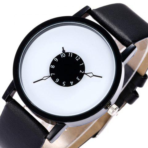 Store Faux Leather Strap Number Analog Watch - BLACK  Mobile