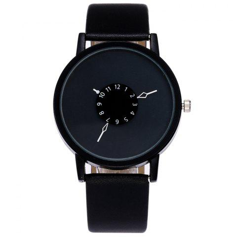 New Faux Leather Strap Number Analog Watch BLACK