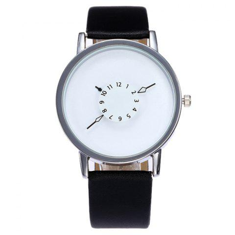 Shop Faux Leather Strap Number Analog Watch SILVER