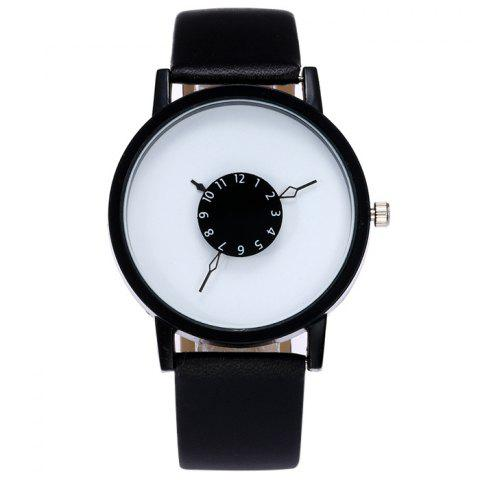 Unique Faux Leather Strap Number Analog Watch BLACK WHITE
