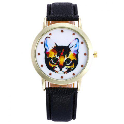 Faux Leather Cartoon Cat Analog Watch - Black - 60*90cm