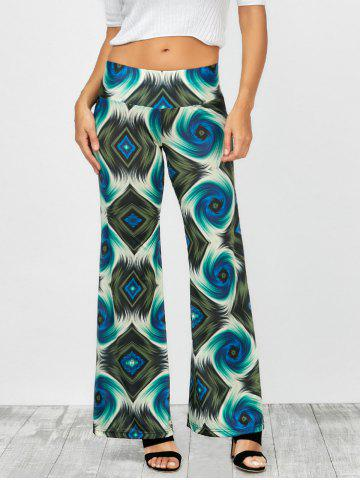 Abstract Colorful Print Elastic Waist Palazzo Pants - Colormix - 2xl