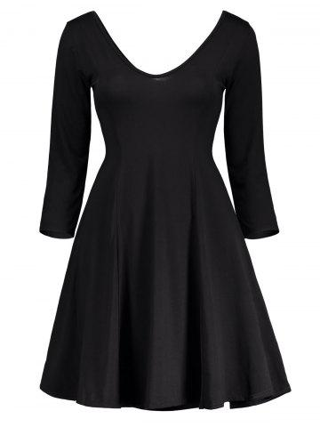 Affordable Plunging Neck Fitted A Line Mini Dress - S BLACK Mobile