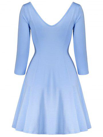 Latest Plunging Neck Fitted A Line Mini Dress - M SKY BLUE 4020# Mobile
