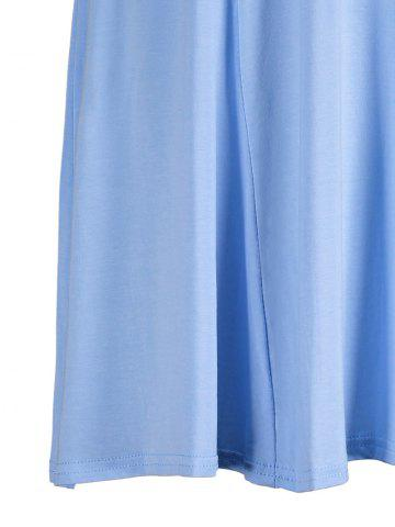 New Plunging Neck Fitted A Line Mini Dress - M SKY BLUE 4020# Mobile