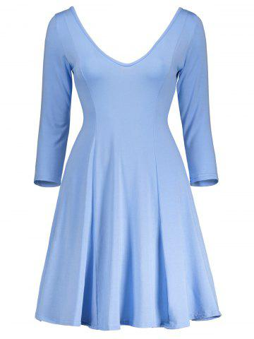 Plunging Neck Fitted A Line Mini Dress - Sky Blue 4020# - Xl