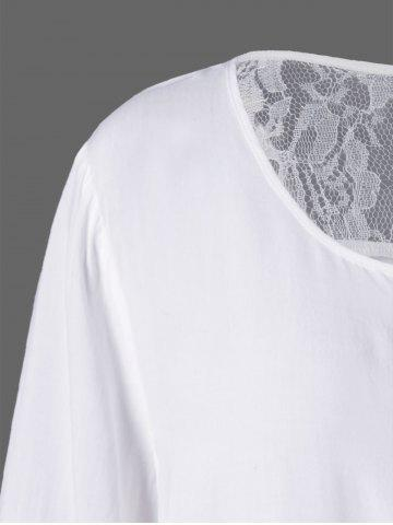 Chic Plus Size Lace Insert Scalloped Button Up Blouse - 5XL WHITE Mobile