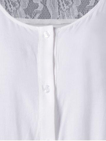Store Plus Size Lace Insert Scalloped Button Up Blouse - 5XL WHITE Mobile