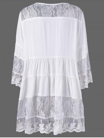 Outfit Plus Size Lace Insert Scalloped Button Up Blouse - 5XL WHITE Mobile