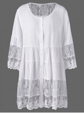 Cheap Plus Size Lace Insert Scalloped Button Up Blouse - 5XL WHITE Mobile