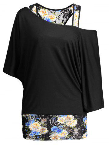 Outfits Dolman Sleeve Floral Plus Size Top - 5XL BLACK Mobile