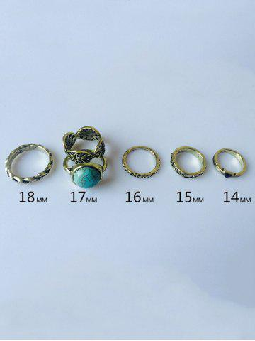 New Plated Alloy Engraved Faux Turquoise Ring Set - GOLDEN  Mobile