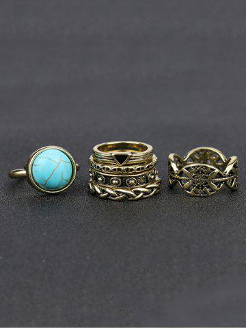 Latest Plated Alloy Engraved Faux Turquoise Ring Set - GOLDEN  Mobile