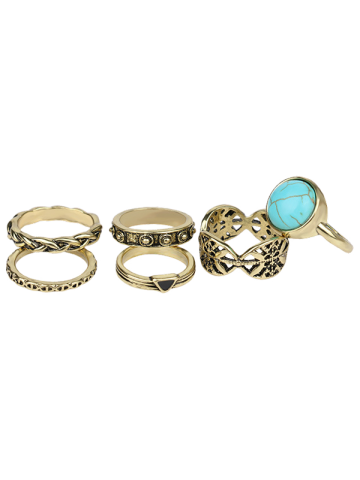 Hot Plated Alloy Engraved Faux Turquoise Ring Set - GOLDEN  Mobile
