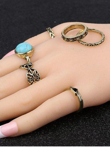 Affordable Plated Alloy Engraved Faux Turquoise Ring Set - GOLDEN  Mobile