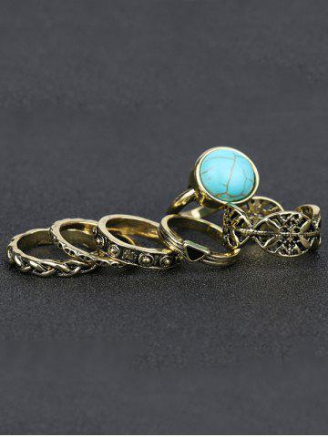 Best Plated Alloy Engraved Faux Turquoise Ring Set - GOLDEN  Mobile