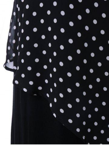 Buy Plus Size Sleeveless Polka Dot Wrap Dress - 2XL BLACK Mobile