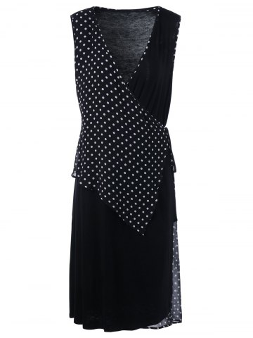 New Plus Size Sleeveless Polka Dot Wrap Dress - 2XL BLACK Mobile