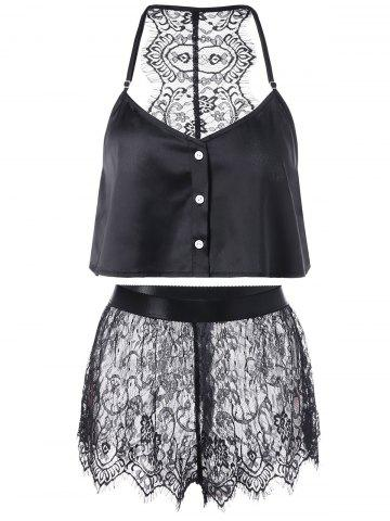 Shops Button Up Crop Top with Lace Shorts BLACK XL