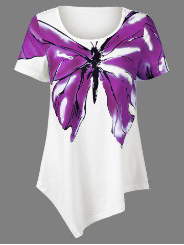 Discount Butterfly Print Asymmetrical T-Shirt - XL PURPLE Mobile