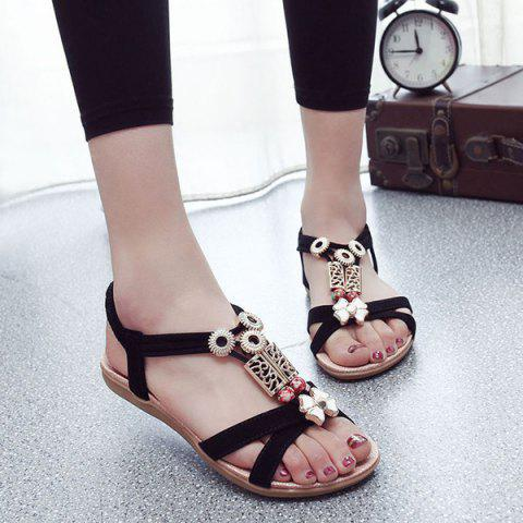 Elastic Band T Bar Sandals - Black - 38