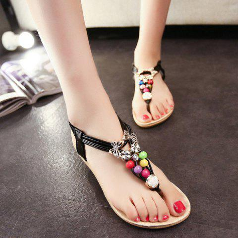 Chic Beads Faux Leather Sandals