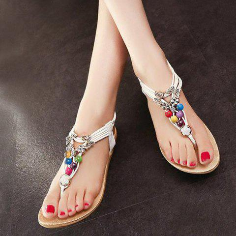 Shops Beads Faux Leather Sandals - 39 WHITE Mobile
