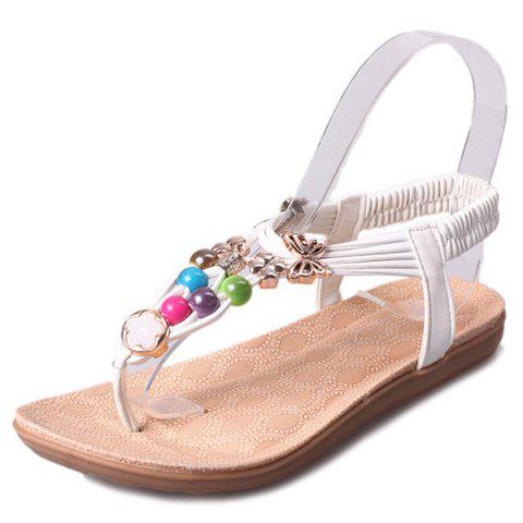 Sale Beads Faux Leather Sandals - 39 WHITE Mobile