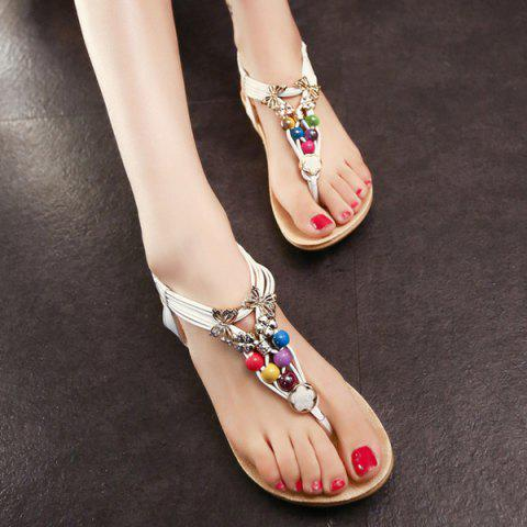 Best Beads Faux Leather Sandals - 39 WHITE Mobile