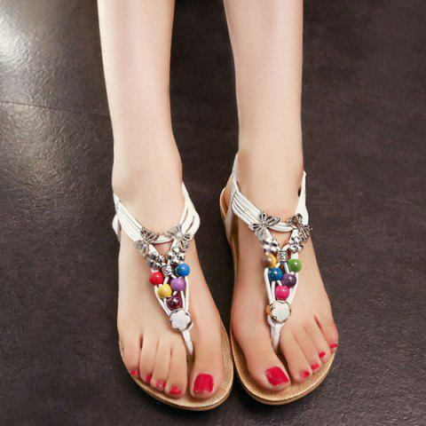 New Beads Faux Leather Sandals - 39 WHITE Mobile