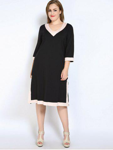 Chic V Neck Side Slit Plus Size Dress - L BLACK Mobile