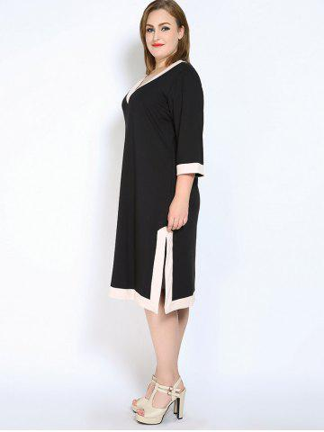 Sale V Neck Side Slit Plus Size Dress - L BLACK Mobile