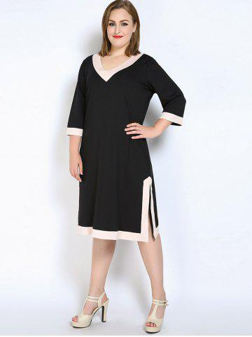 Best V Neck Side Slit Plus Size Dress - L BLACK Mobile