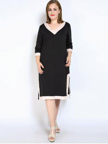 Discount V Neck Side Slit Plus Size Dress - L BLACK Mobile