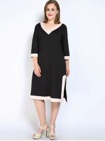 Unique V Neck Side Slit Plus Size Dress - L BLACK Mobile