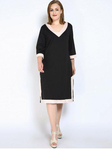 Affordable V Neck Side Slit Plus Size Dress - L BLACK Mobile