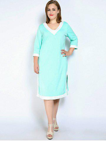 Online V Neck Side Slit Plus Size Dress - L LIGHT GREEN Mobile