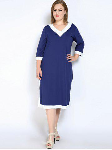 Shop V Neck Side Slit Plus Size Dress - 7XL BLUE Mobile