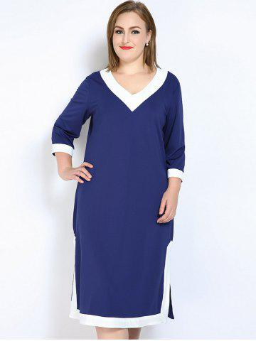 Latest V Neck Side Slit Plus Size Dress - 7XL BLUE Mobile