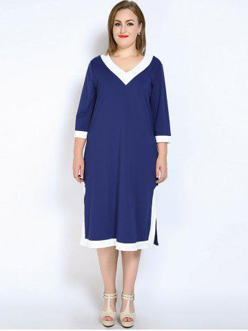 Fashion V Neck Side Slit Plus Size Dress - 7XL BLUE Mobile
